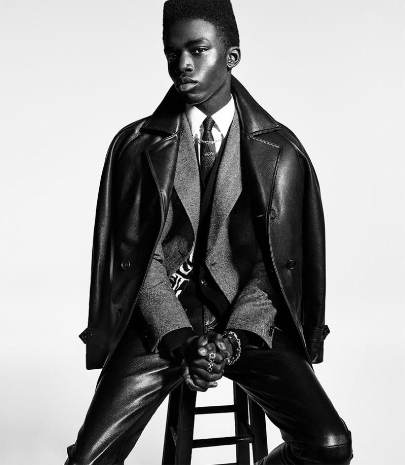 A sleek vision, Jeremiah Berko Fourdjour appears in Zara's fall-winter 2019 campaign.