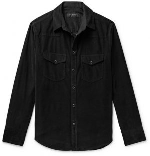 rag & bone - Beck Garment-Dyed Cotton-Corduroy Western Shirt - Men - Black