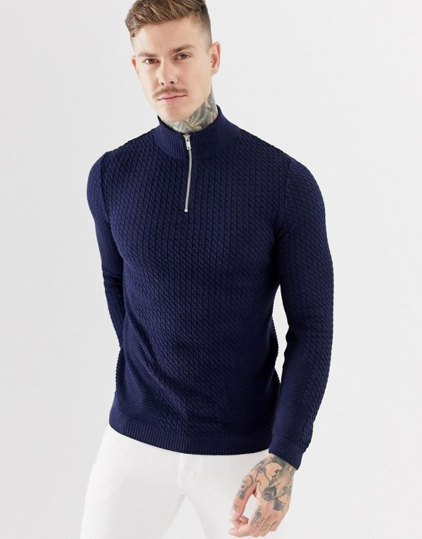 ASOS DESIGN muscle fit lightweight cable half zip sweater in navy - Navy