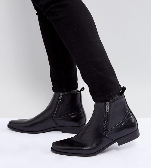 ASOS Wide Fit Chelsea Boots In Black Faux Leather With Zips - Black