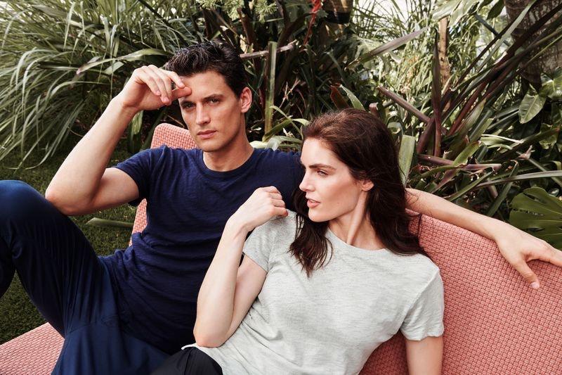 Models Garrett Neff and Hilary Rhoda wear casual fashions from ATM.