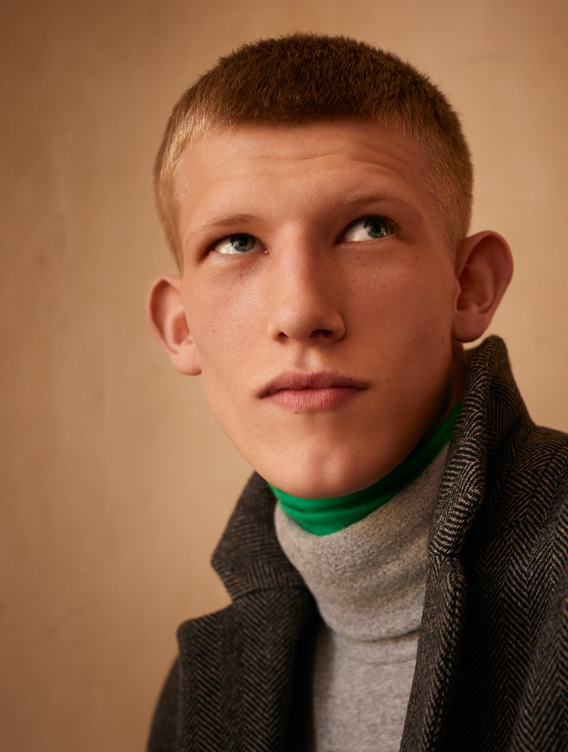 Connor Newall dons a coat with turtlenecks from American Vintage's fall-winter 2019 collection.