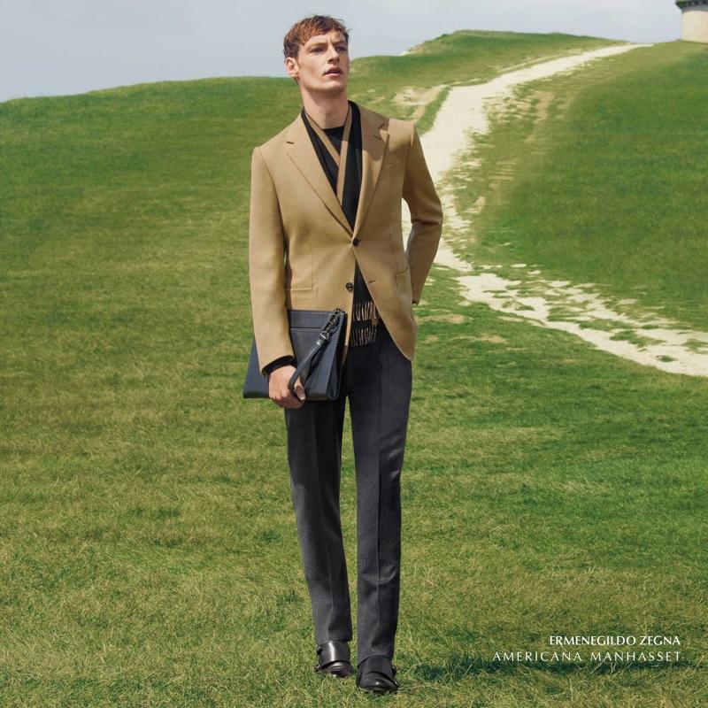 Roberto Sipos dons a tailored look from Ermenegildo Zegna.