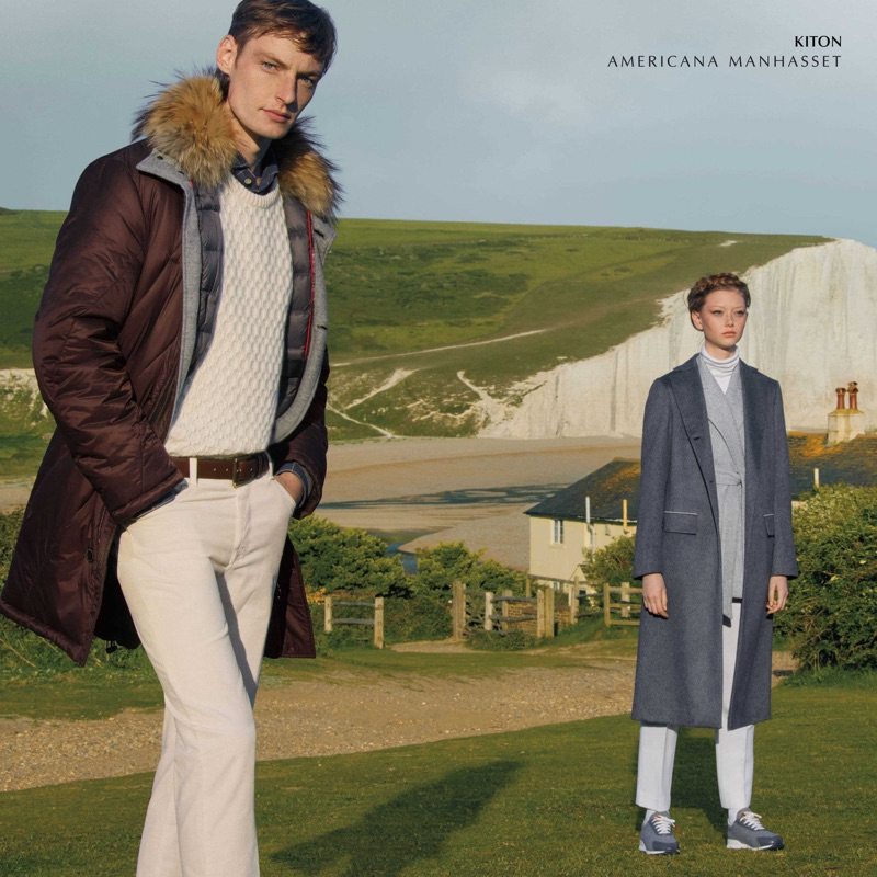 Models Roberto Sipos and Sara Grace Wallerstedt sport fall looks from Kiton.
