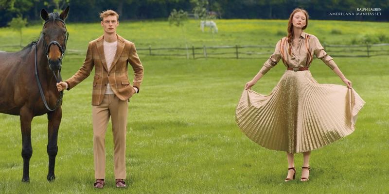 Embracing neutrals, Roberto Sipos and Sara Grace Wallerstedt wear Ralph Lauren.