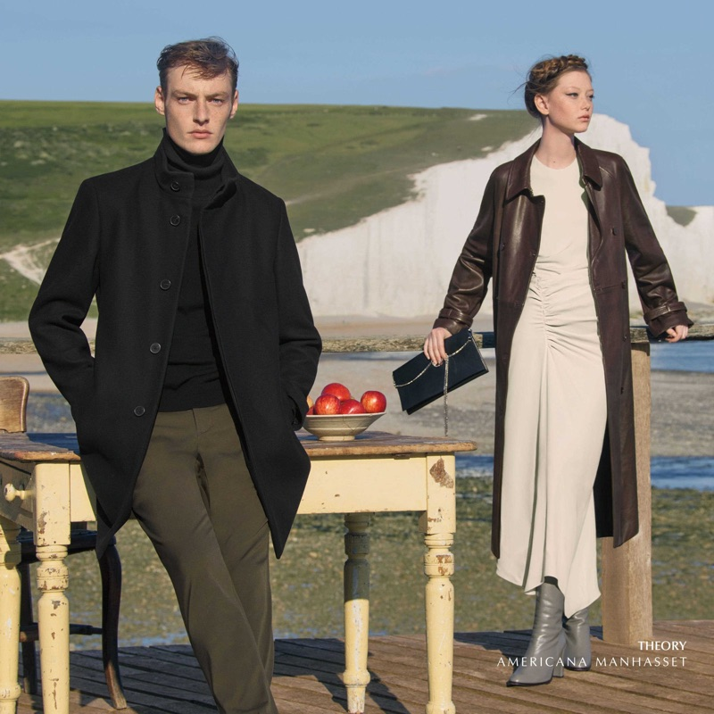 Dressed to impress, Roberto Sipos and Sara Grace Wallerstedt model outfits from Theory.