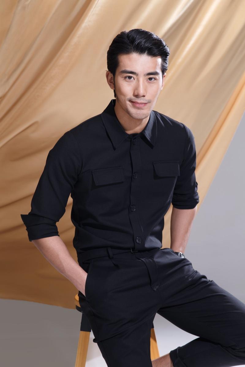 Asian Male Model Black Pants Shirt