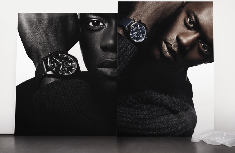 Appearing in stunning images, Alpha Dia fronts BOSS' fall-winter 2019 men's watches campaign.