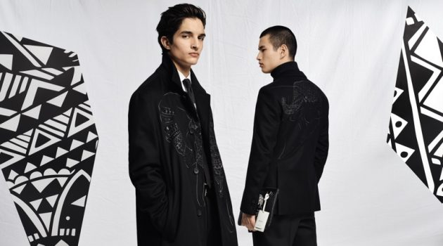 Models Pablo Fernandez and Kohei Takabatake wear outerwear from the BOSS x Meissen holiday 2019 capsule collection.