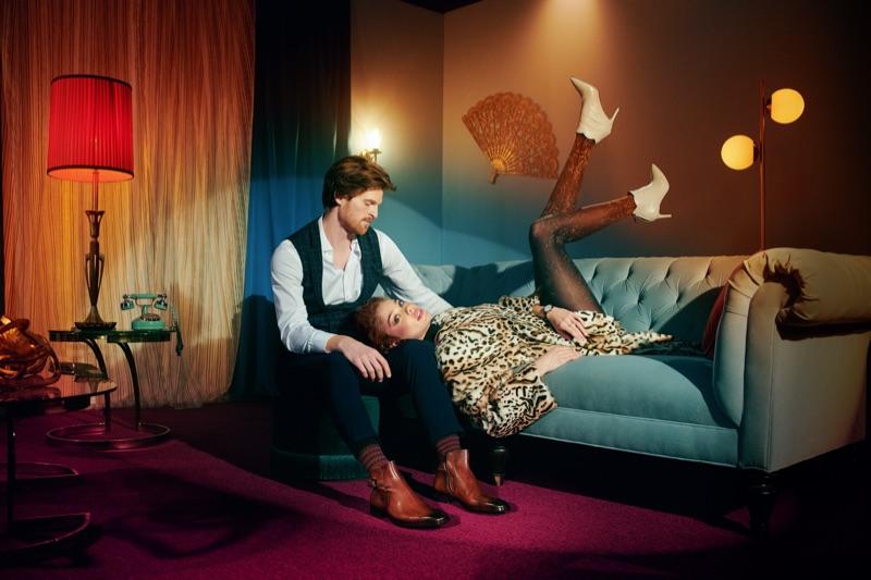 Models Jake Dietrich and Michelle Dantas front Bruno Magli's fall-winter 2019 campaign.