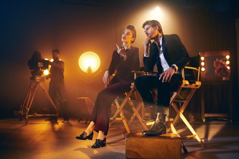 Michelle Dantas and Jake Dietrich star in Bruno Magli's fall-winter 2019 campaign.