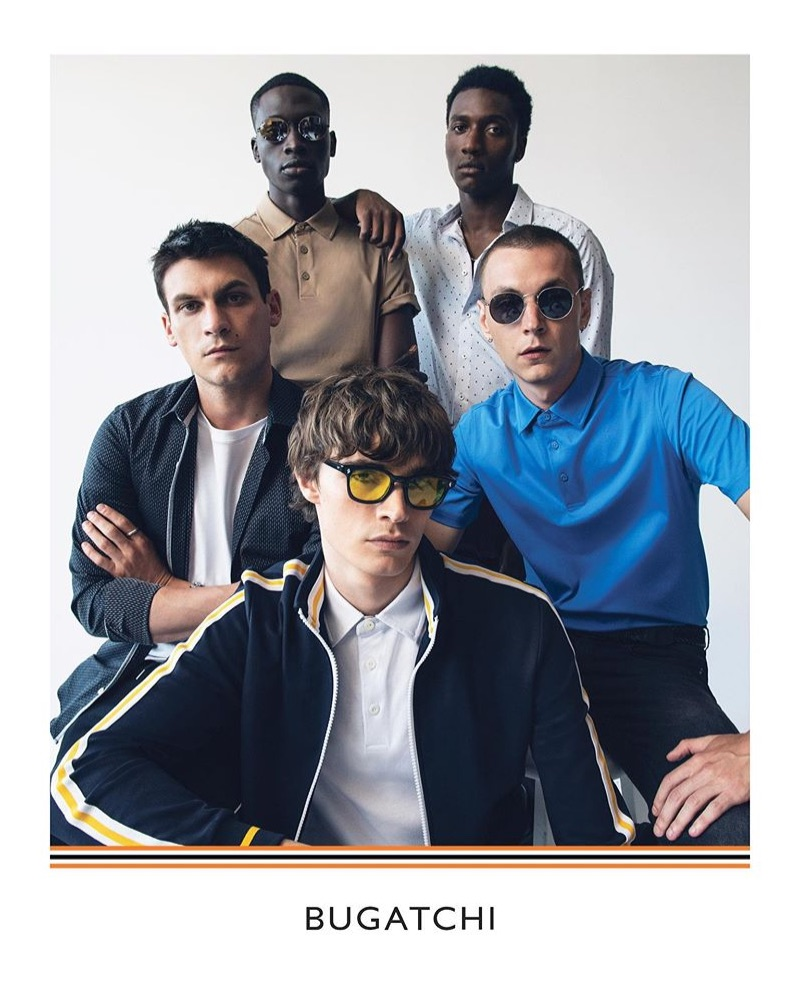 Bugatchi features Miles Garber, Liam Little, Yuri Pleskun, Baba Diop, and Nakee in its fall-winter 2019 campaign.