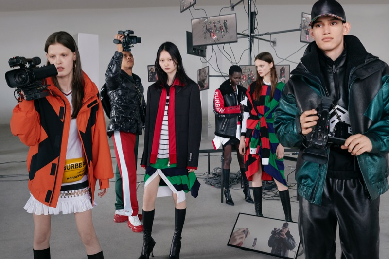 Anna Ross, Junior Vasquez, He Cong, Mammina Aker, Kacie Hall, and Alexis Chaparro star in Burberry's fall-winter 2019 campaign.