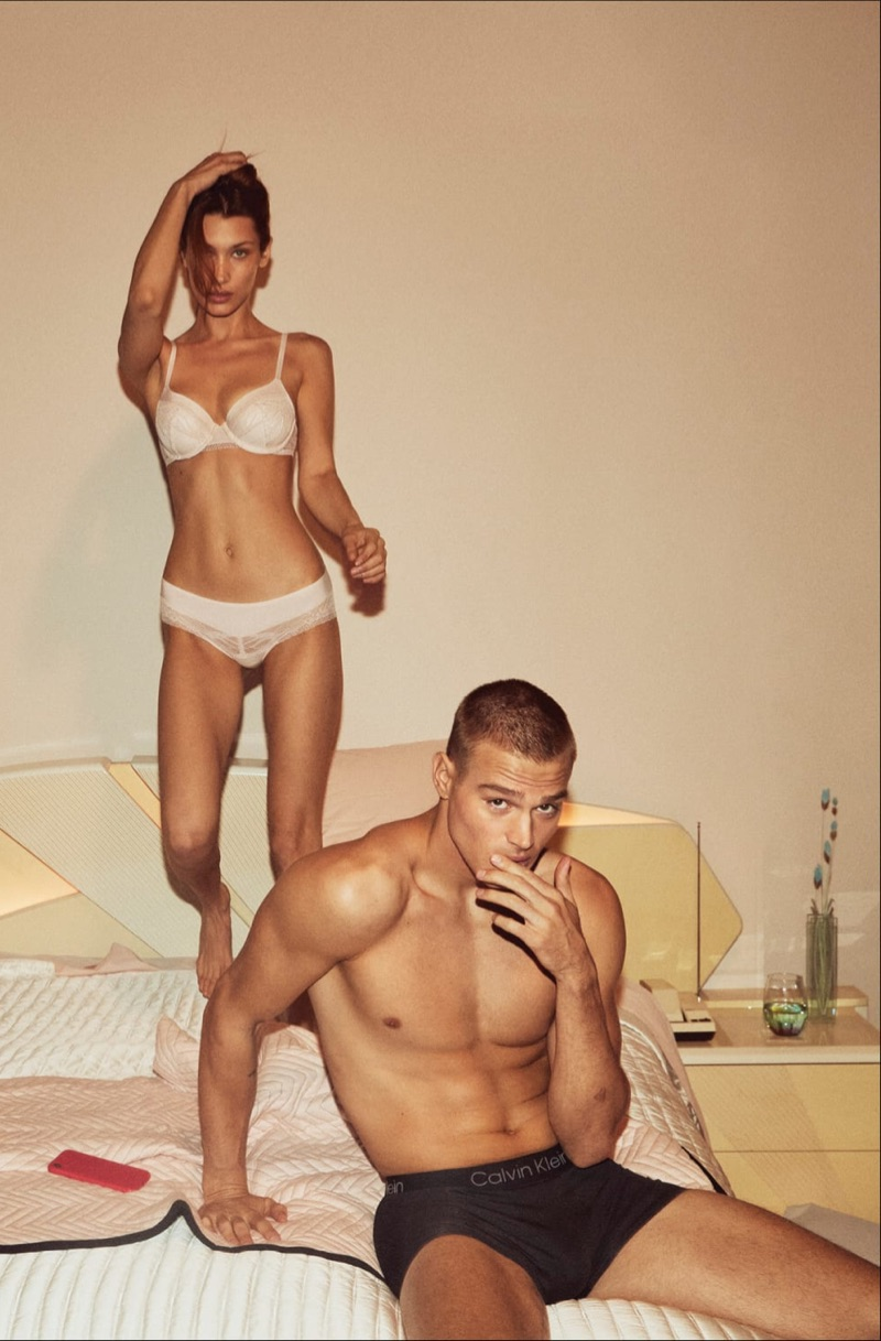 Models Bella Hadid and Matthew Noszka come together for Calvin Klein's fall-winter 2019 underwear campaign.