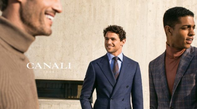 Models Giacomo Cavalli and Ángelo Gómez front Canali's fall-winter 2019 campaign.