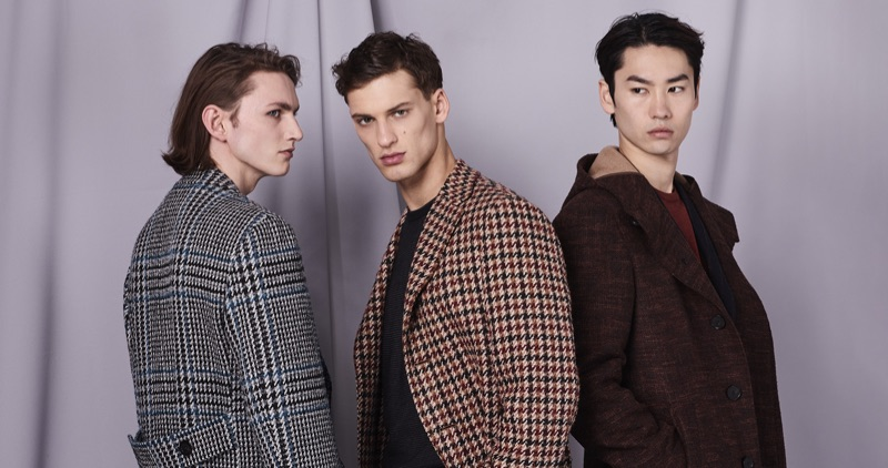 Henry Rausch, David Trulik, and Hyo Jin Cho don fall-winter 2019 looks by Canali.