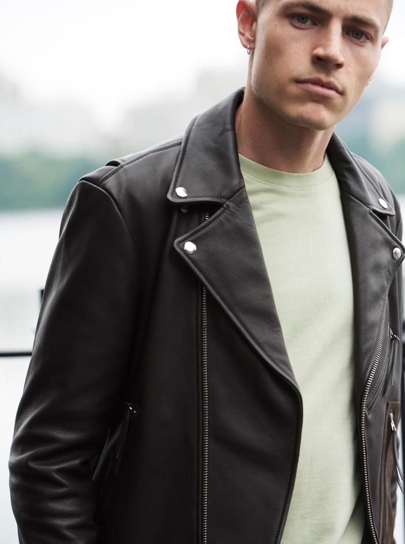 Rocking a leather biker jacket $650, Jonas Kloch dons easy fall fashions from Club Monaco.