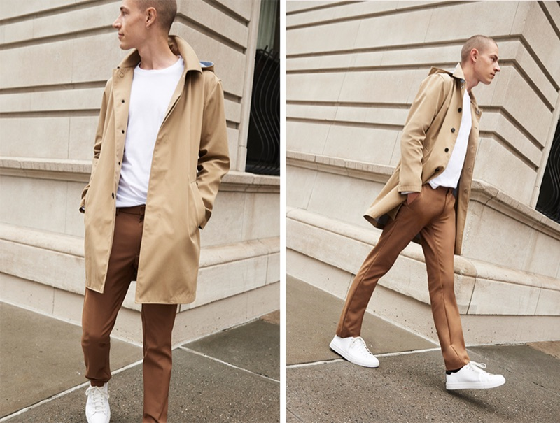 Donning neutral hues, Jonas Kloch wears Club Monaco's tabac modern stretch trousers $169.50 with a khaki mac coat $329.