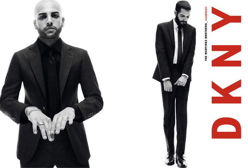 Donning elegant suits, The Martinez Brothers front DKNY's fall 2019 men's campaign.