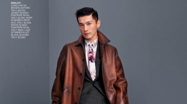 Daisuke Ueda dons a sleek brown leather coat with a grey pinstripe suit by Berluti.