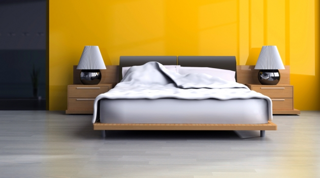 Designer Bedroom with Yellow Wall