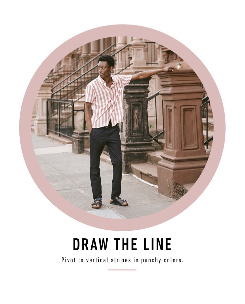 Taking to the streets of New York, Youssouf Bamba sports a Ted Baker striped shirt with Norse Projects pants and Birkenstock Arizona SFB sandals.
