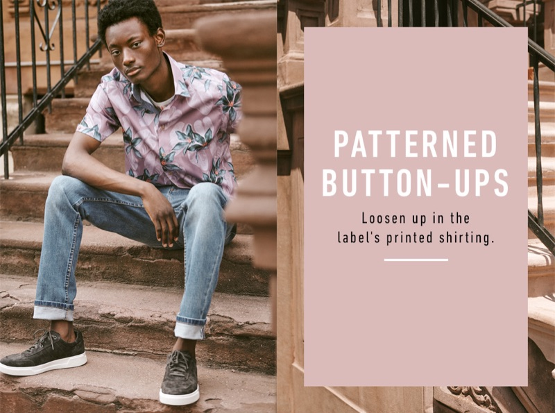 Youssouf Bamba wears a Ted Baker floral t-shirt and print shirt with A.P.C. Petit New Standard stretch jeans and Vince sneakers.