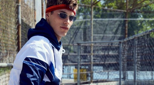 Kit Butler embraces sporty style for Ellesse's fall-winter 2019 campaign.