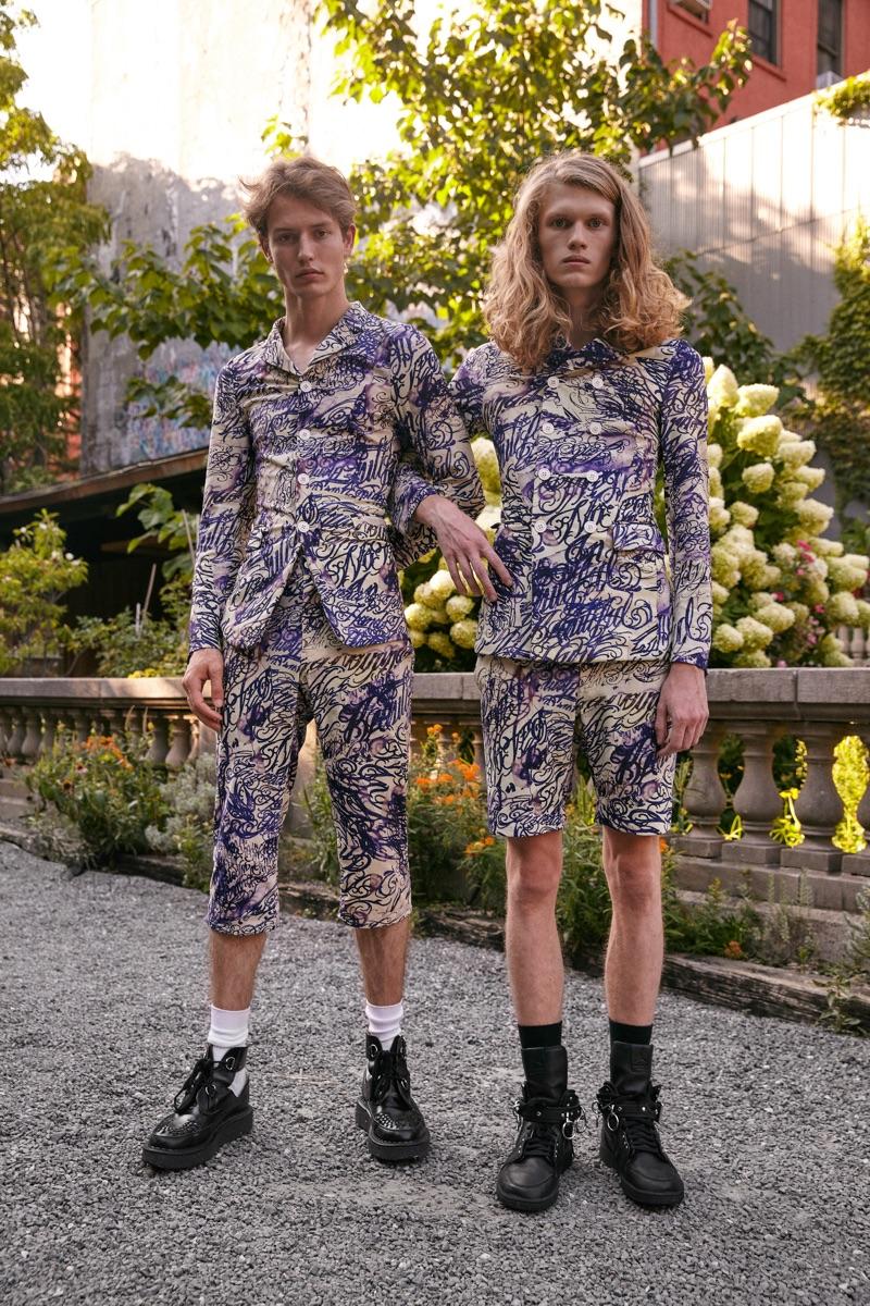 Left: Nathan wears suit Comme des Garçons Homme Plus and creepers Comme des Garçons x George Cox. Right: Finlay wears suit Comme des Garçons Homme Plus and sneakers Comme des Garçons x Nike.