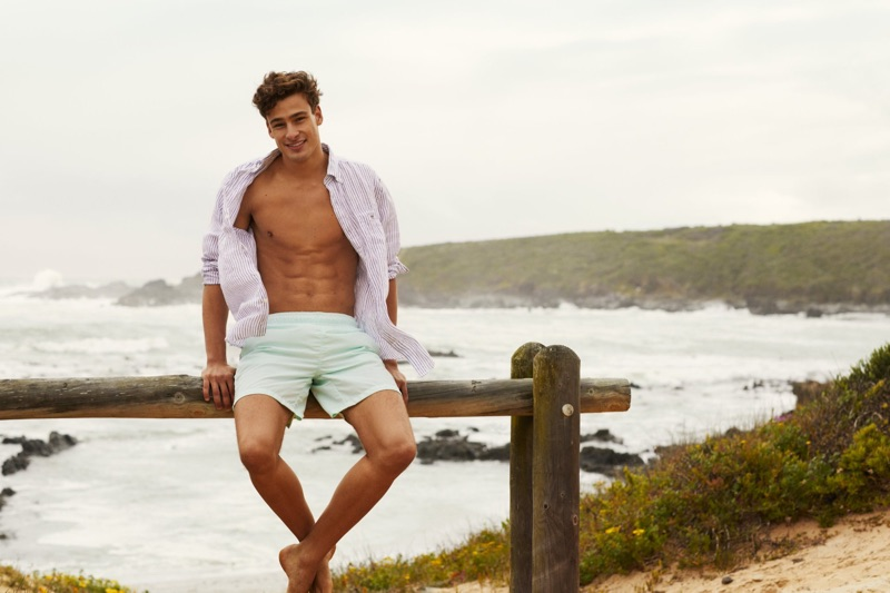 Justin Petzschke takes to the beach in summer clothing from GANT.