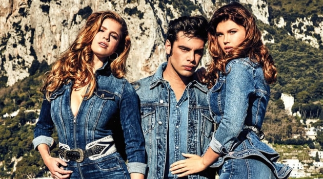 Tatiana Gerusova photographs Iuliia Vasileva, Stefano Sala, and Emily Deyt-Aysage for GUESS' fall 2019 denim campaign.