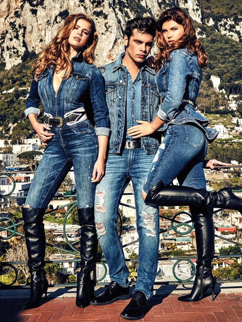 Tatiana Gerusova photographs Iuliia Vasileva, Stefano Sala, and Emily Deyt-Aysage for GUESS' fall 2019 denim campaign.