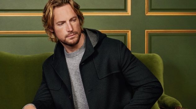 Gabriel Aubry dons a fall-winter 2019 look from Loro Piana.