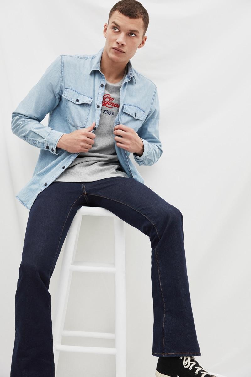 Louis Mayhew wears Gap's '70s pioneer denim shirt $79.95 and boot cut jeans $69.95.
