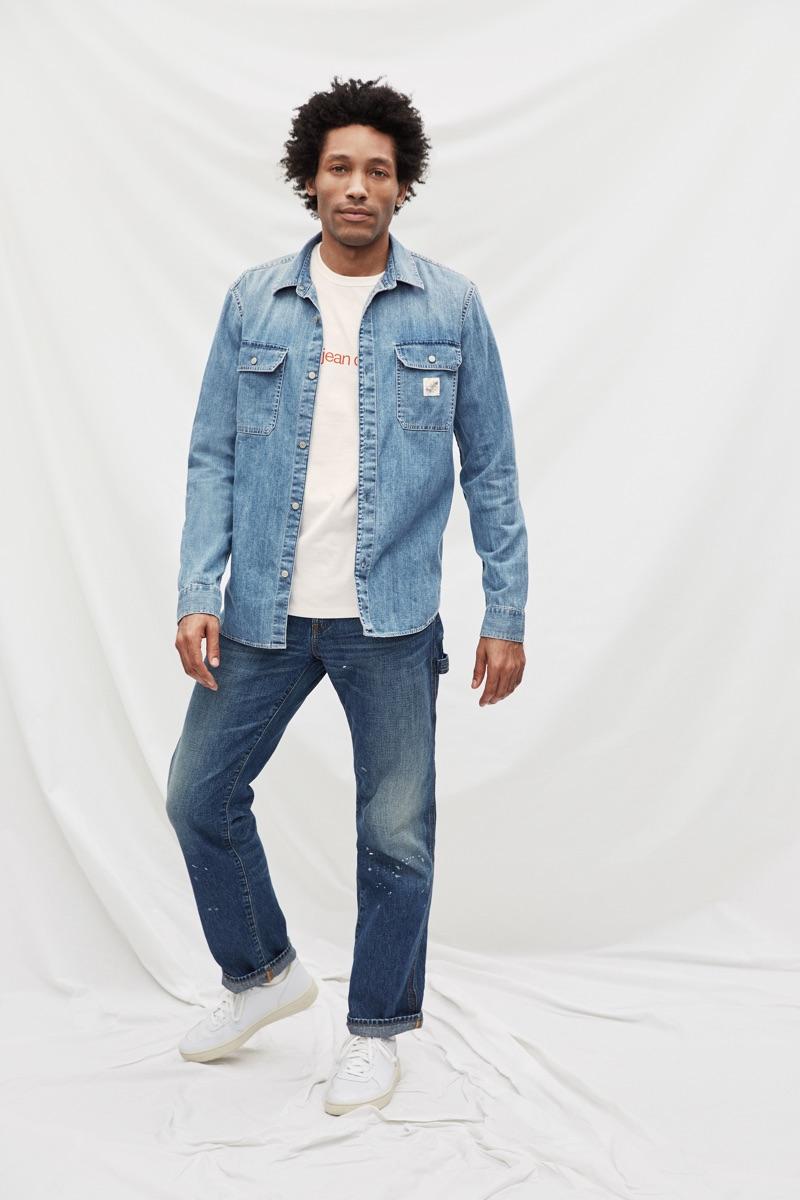 Terrell Pridgen models Gap's '80s worker shirt $79.95 and carpenter fit jeans $69.95.