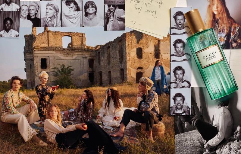 Harry Styles joins models for Gucci's Mémoire d'une Odeur fragrance campaign.