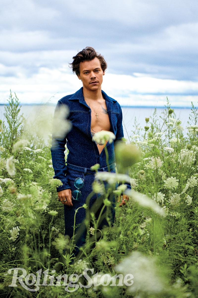 Harry Styles dons a boiler suit by Alled-Martínez for Rolling Stone.