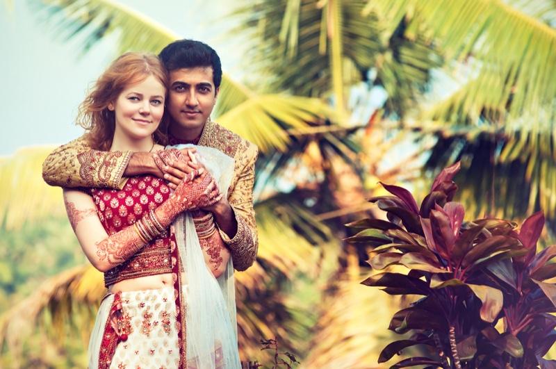 Interracial Indian Man Woman Wedding