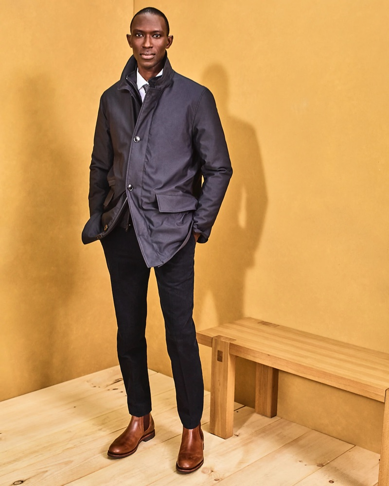 A smart vision, Armando Cabral sports a J.Crew insulated jacket $248 and Ludlow suit pants $238.