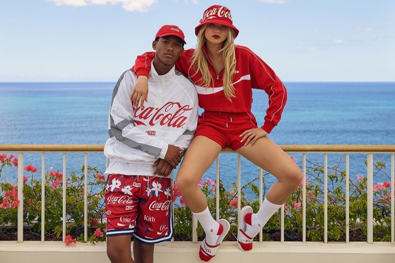 Models Timothy Lewis and Josie Canseco sport looks from the KITH x Coca-Cola capsule collection.