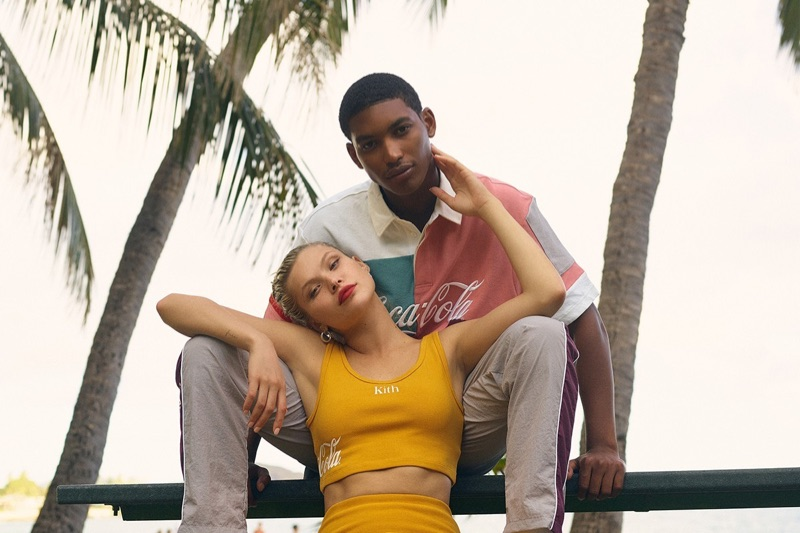 Embracing a summer vibe, Josie Canseco and Timothy Lewis wear fashions from the KITH x Coca-Cola capsule collection.