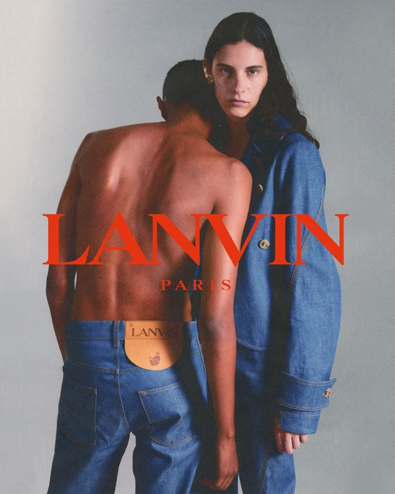 François Quillacq photographs Matthew Petersen and Cyrielle Lalande for Lanvin's fall-winter 2019 denim campaign.