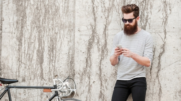 Male Model Beard Striped Shirt Jeans Bicycle Phone