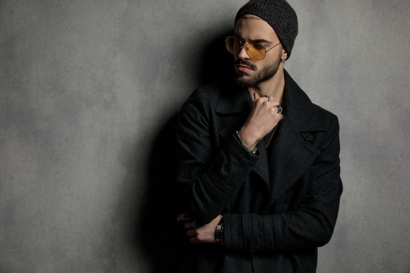 Male Model Coat Beanie Sunglasses