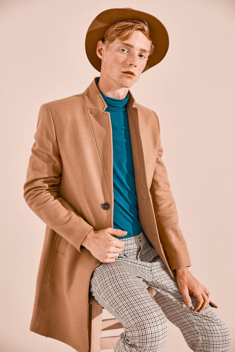Male Model Red Hair Coat Hat