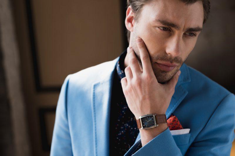 Man Blue Suit Wearing Watch