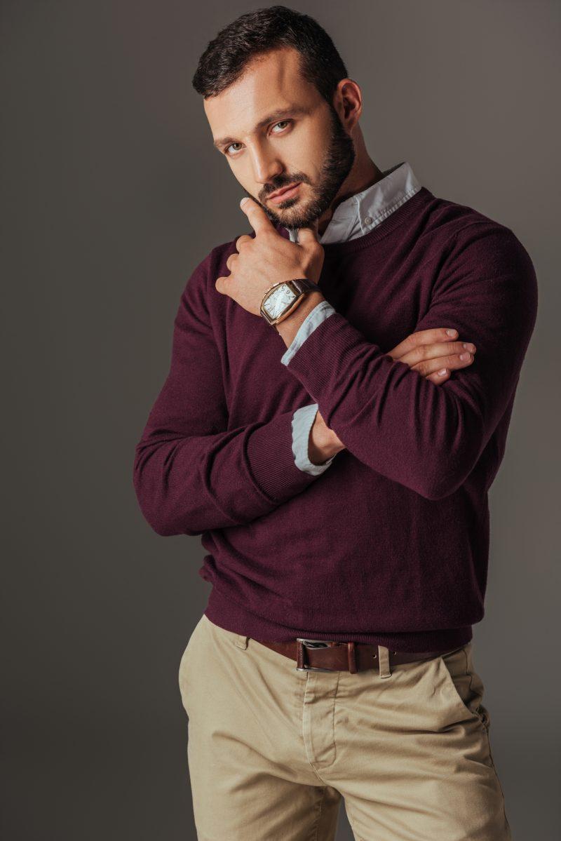 Man Burgundy Sweater Wearing Watch