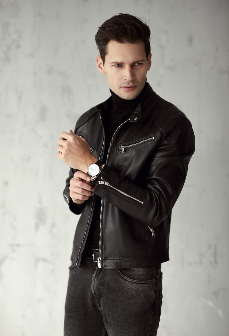 Man Leather Jacket Black Jeans