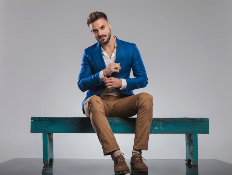Man Wearing Smart Style Blazer and Khakis
