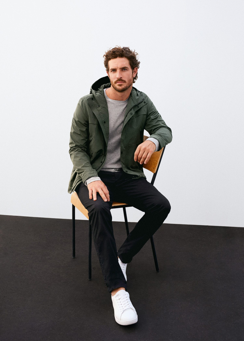 Front and center, Justice Joslin dons a parka from Mango.